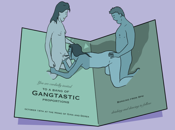 "Invitation to a gang bang with pop up people having sex in the middle of the card and the phrase ""you are invited to a bang of gangtastic proportions'"