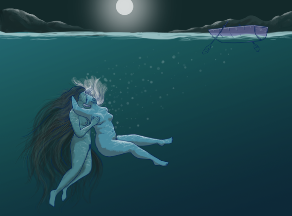 Siren with long hair entangles with naked woman below the surface of a still lake. There is an abandoned rowing boat floating on the water and a full moon overhead