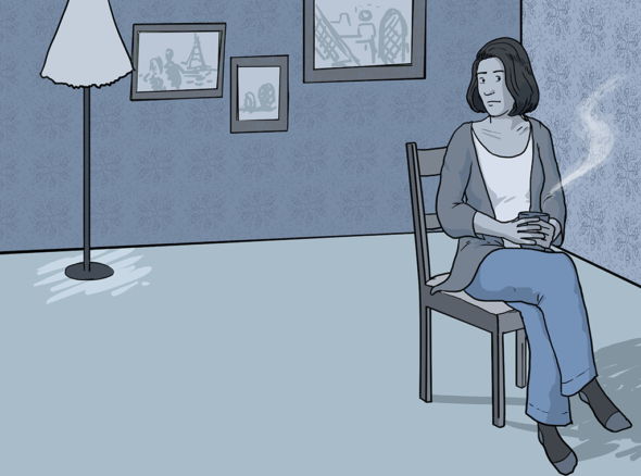 Woman sits in chair looking curious and uncertain as she listens to her boyfriend fucking her - another woman - in the next room.