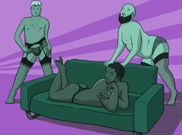 Three men in feminine lingerie lounge sexily by a sofa - showing off how to wear my knickers
