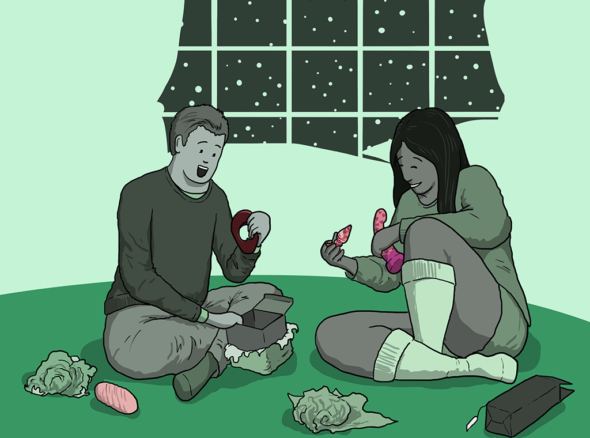 Two people looking delighted about their NSFW Christmas gifts - butt plugs, dildos, cock rings and more
