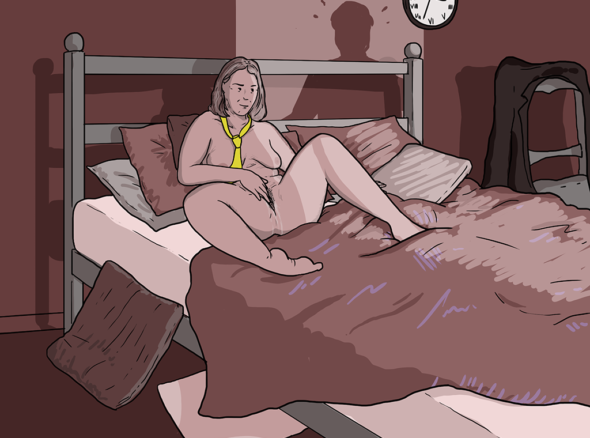 Woman sits naked on bed save for a yellow tie, fingering herself. She imagines how she'd spite fuck her husband when he comes home, but his shadow is at the door...