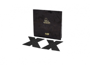 Bijoux nipple pasties in glittery black cross form, with box
