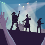 Two arms raised in front of a stage, where a band plays silhouetted against the stage lights
