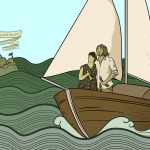 Two people in a boat sailing on an ocean to 'Isle peak and palm' - the island of voyeuristic handjobs