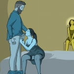 Girl sitting in corner of the room radiating pride as her boyfriend gets his dick sucked by another woman. She likes to show him off.