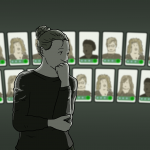 "Woman stands looking nervously at a wall of other women's faces. She thinks ""I'm jealous and insecure"" - the light is dark and the faces look bright, and she is worried they are all better than hers"
