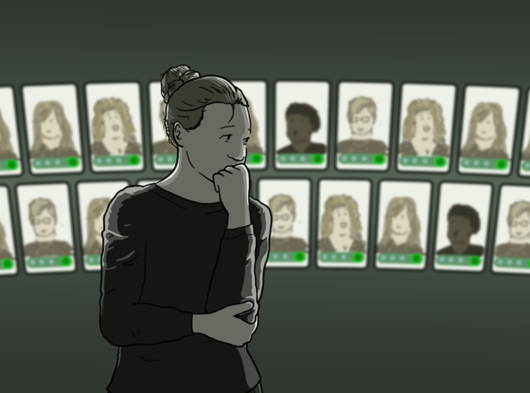 """Woman stands looking nervously at a wall of other women's faces. She thinks """"I'm jealous and insecure"""" - the light is dark and the faces look bright, and she is worried they are all better than hers"""