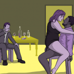 One man sits at a table drinking whisky and watching as his wife fucks another man sitting on a chair nearby
