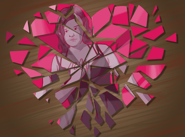 Image of a woman reflected in a mirrored heart, the mirrored heart is smashed and she does not intend to fall in love again