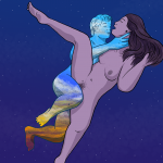 Naked woman being shagged by naked man whose body is coloured like the dawn - they are set against a backdrop of a fading night sky. He is her rebound fuck, bringing her towards the new day