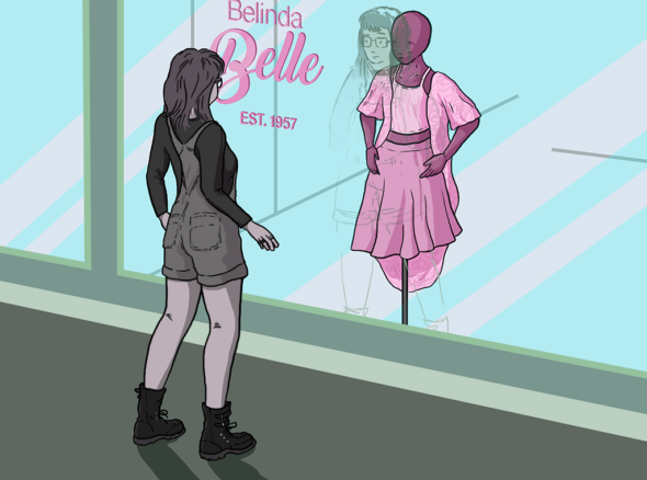 Woman in dungarees and big stompy boots looks longingly at a pink dress in the window of a shop, wondering if it will give her the femininity she's aiming for