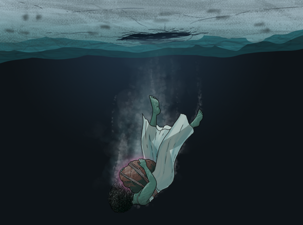 What heartbreak feels like for some - a woman with a heavy rock on her chest dropping into the ocean