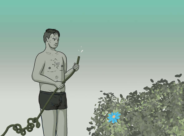 Man in his boxer shorts holds a hose which is dripping slightly and tangled so he can't get water out. In front of him there is a bush with a single blue flower