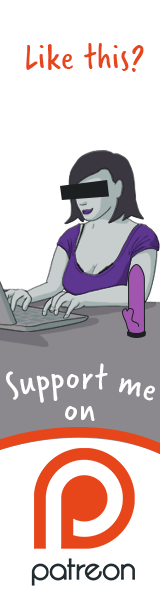 Cartoon image of Girl on the Net typing with Patreon logo in image