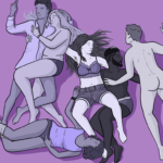 Friendly fuck - group of friends in various states of undress cuddle and touch each other