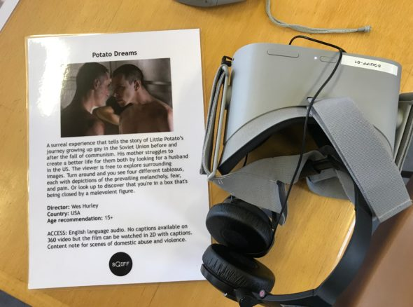 VR headset with image from 'potato dreams' and synopsis of film