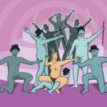 Woman in center of a group of naked men wearing top-hats/canes, providing backing dancing for her as the main event. Group sex vs gang bang - this is what a gang bang looks like