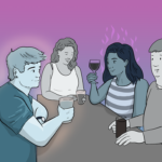 Group of friends sit round a table drinking, one of the women looks like she is on fire with desire for the guy sitting opposite her, thinking 'you're sexy, let's fuck'