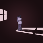 Two people stand in the dark, lighted by the sunset at a window, hugging each other