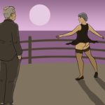 Woman dances on the deck of a cruise ship, spinning so her skirt lifts and the guy watching can see she is not wearing knickers