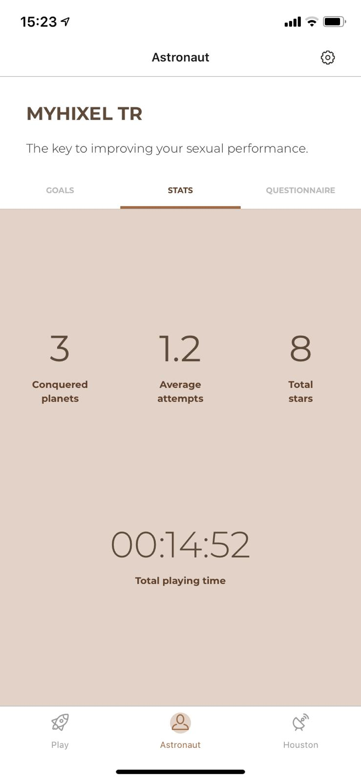 App screengrab showing average times, attempts and total play time