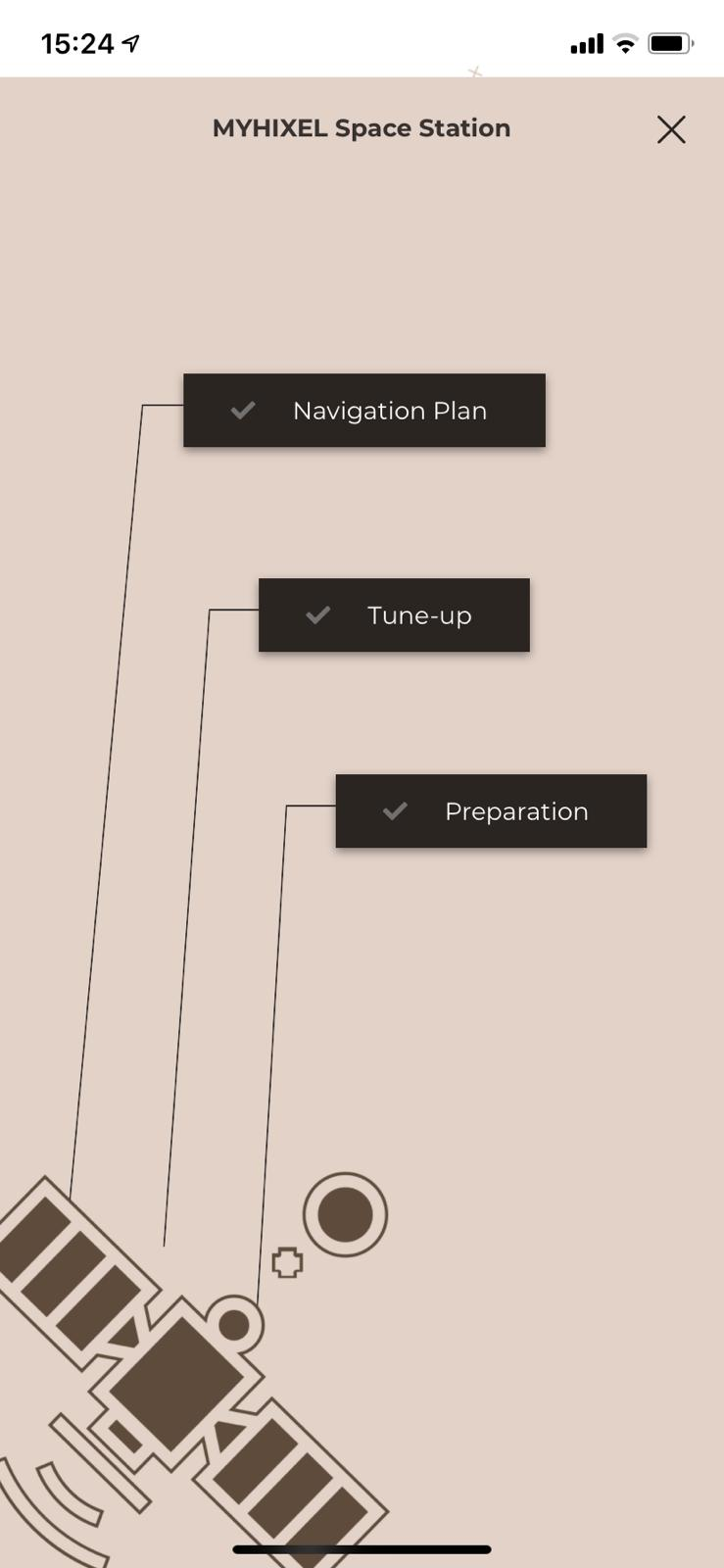 Screengrab from the app depicting prep/levels as stages of preparation on a space station