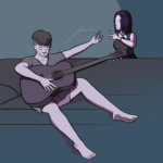 Guy sits on sofa with guitar holding joint out to girl standing nearby