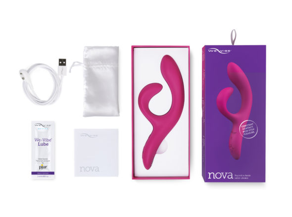 We-Vibe Nova 2 in packaging, with storage pouch instructions and lube