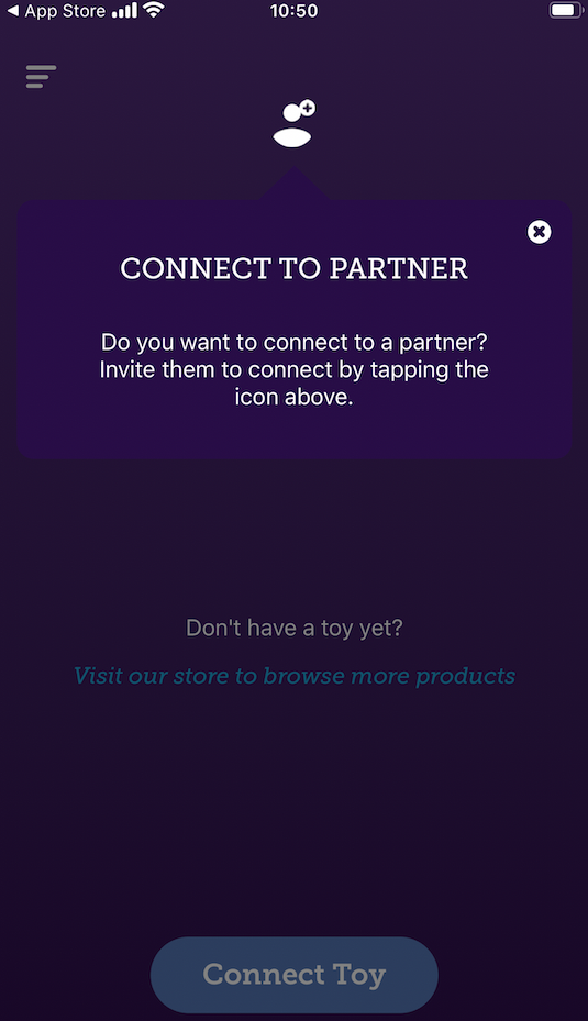 We-Vibe App welcome screen which asks 'do you want to connect to partner?'