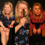 feeling sexy at 50+ - Debbie Bird in three different photos, laughingm holding a vibrator to her nose and staring into the camera