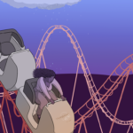 woman on a rollercoaster braces herself as the coaster starts to plummet