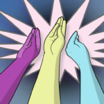 Three different coloured hands making the duck-bill fisting gesture against a bright backdrop