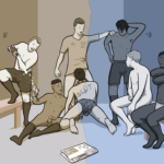 Image of a changing room with footballers in and two changing room sluts. The image is split so the left-hand side is coloured yellow, and the slut is pleasuring happy players drinking champagne, but the other side is grey and miserable and the slut is functionally sucking the other players off