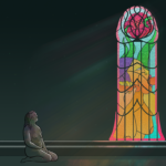 A naked woman kneels before a stained glass window in the shape of a penis. Depicted in the window is another person sucking one cock while wanking another off.